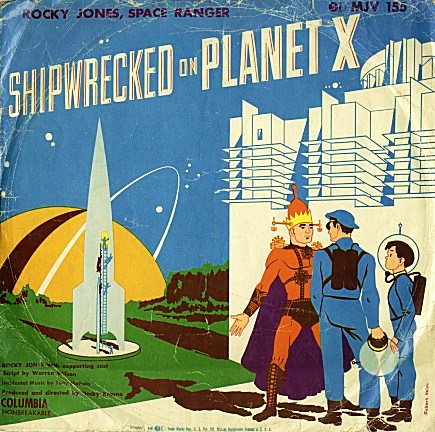 a 78 rpm record from 1955, featuring Rocky Jones and Winky on Planet X