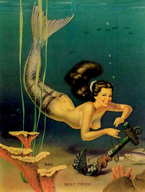 Tagged Art Bill Layne Mermaid Mermaids Mutascope Neat Trick Pin Up Pinup Girl Vintage