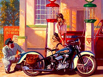Harley davidson the mscleheaded blog tagged art gas station harley davidson knucklehead motorcycle old timey pin up vintage style freerunsca Images
