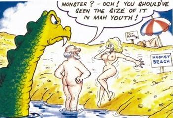 Nude comic humor beach
