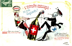 SWITZERLAND - FEBRUARY 01: An absinthe anti-prohibition postcard by Gantner, showing how absinthe was attacked by both the prohibitionists and the producers of rival liquors. (Photo by SSPL/Getty Images)